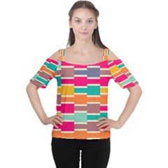 Connected colorful rectangles Women s Cutout Shoulder Tee