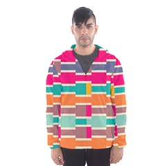 Connected colorful rectangles Mesh Lined Wind Breaker (Men)