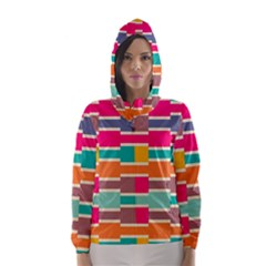 Connected colorful rectangles Hooded Wind Breaker (Women)