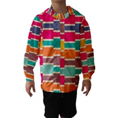Connected Colorful Rectangles Hooded Wind Breaker (kids)