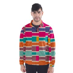 Connected colorful rectangles Wind Breaker (Men)