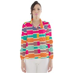 Connected Colorful Rectangles Wind Breaker (women)