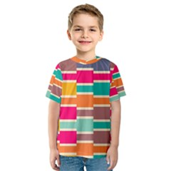 Connected colorful rectangles Kid s Sport Mesh Tee