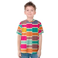 Connected colorful rectangles Kid s Cotton Tee
