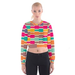Connected colorful rectangles   Women s Cropped Sweatshirt