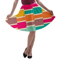 Connected colorful rectangles A-line Skater Skirt