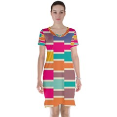 Connected Colorful Rectangles Short Sleeve Nightdress