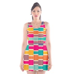 Connected colorful rectangles Scoop Neck Skater Dress