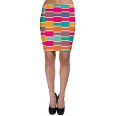 Connected colorful rectangles Bodycon Skirt