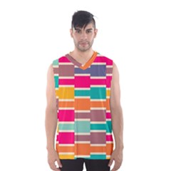 Connected Colorful Rectangles Men s Basketball Tank Top