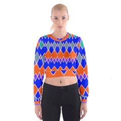 Rhombus Chains   Women s Cropped Sweatshirt