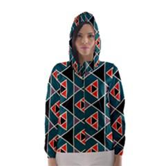 Triangles In Retro Colors Pattern Hooded Wind Breaker (women)