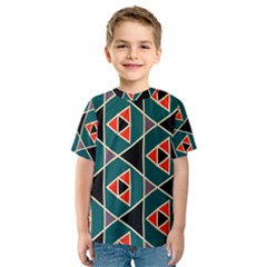 Triangles In Retro Colors Pattern Kid s Sport Mesh Tee