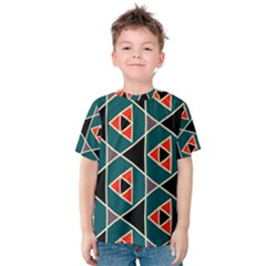 Triangles In Retro Colors Pattern Kid s Cotton Tee