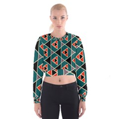 Triangles in retro colors pattern   Women s Cropped Sweatshirt