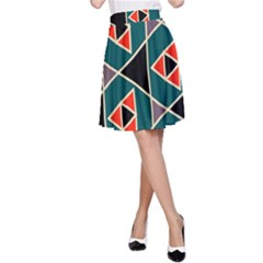 Triangles in retro colors pattern A-line Skirt