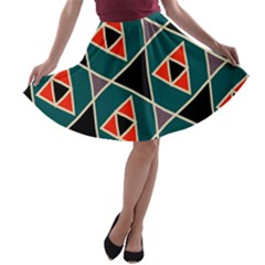 Triangles In Retro Colors Pattern A Line Skater Skirt