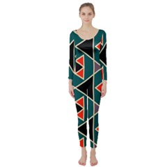 Triangles In Retro Colors Pattern  Long Sleeve Catsuit