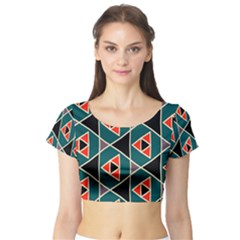 Triangles in retro colors pattern Short Sleeve Crop Top