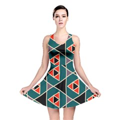 Triangles in retro colors pattern Reversible Skater Dress