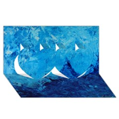 Waves Twin Hearts 3D Greeting Card (8x4)
