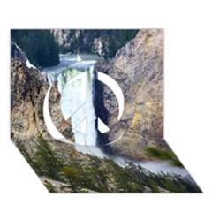 Yellowstone Waterfall Peace Sign 3d Greeting Card (7x5)