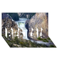Yellowstone Waterfall Best Sis 3d Greeting Card (8x4)