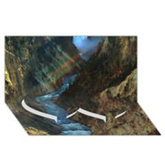 YELLOWSTONE LOWER FALLS Twin Heart Bottom 3D Greeting Card (8x4)