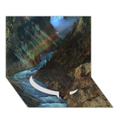 Yellowstone Lower Falls Circle Bottom 3d Greeting Card (7x5)