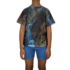 YELLOWSTONE LOWER FALLS Kid s Short Sleeve Swimwear