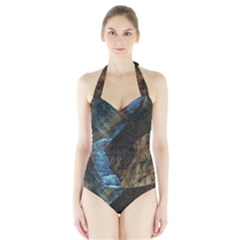 YELLOWSTONE LOWER FALLS Women s Halter One Piece Swimsuit