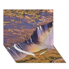 WATERFALL AFRICA ZAMBIA Heart Bottom 3D Greeting Card (7x5)