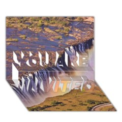 WATERFALL AFRICA ZAMBIA YOU ARE INVITED 3D Greeting Card (7x5)