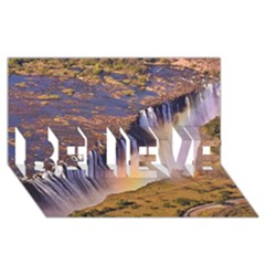 WATERFALL AFRICA ZAMBIA BELIEVE 3D Greeting Card (8x4)