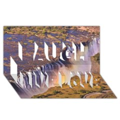 Waterfall Africa Zambia Laugh Live Love 3d Greeting Card (8x4)