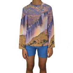 Waterfall Africa Zambia Kid s Long Sleeve Swimwear