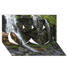 Waterfall Twin Hearts 3d Greeting Card (8x4)