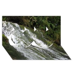 WATER OVERFLOW Twin Hearts 3D Greeting Card (8x4)
