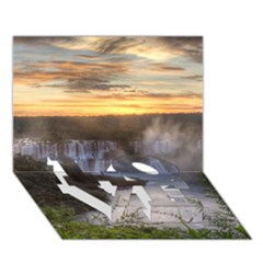 Iguazu Falls Love Bottom 3d Greeting Card (7x5)