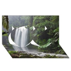 Hopetoun Falls Twin Hearts 3d Greeting Card (8x4)