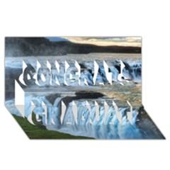 Gullfoss Waterfalls 2 Congrats Graduate 3d Greeting Card (8x4)
