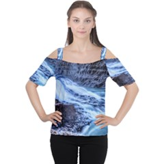 GULLFOSS WATERFALLS 1 Women s Cutout Shoulder Tee