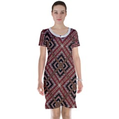 Check Ornate Pattern Short Sleeve Nightdresses