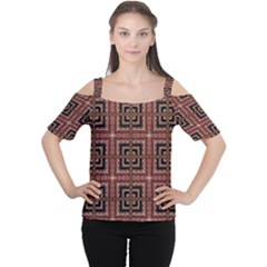 Check Ornate Pattern Women s Cutout Shoulder Tee