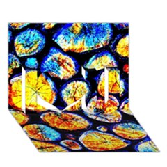 Woodpile Abstract I Love You 3D Greeting Card (7x5)
