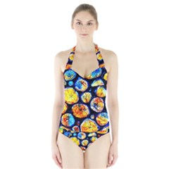 Woodpile Abstract Women s Halter One Piece Swimsuit