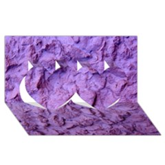 Purple Wall Background Twin Hearts 3D Greeting Card (8x4)