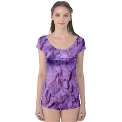 Purple Wall Background Short Sleeve Leotard
