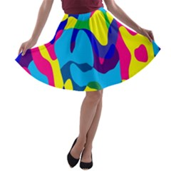Colorful chaos A-line Skater Skirt