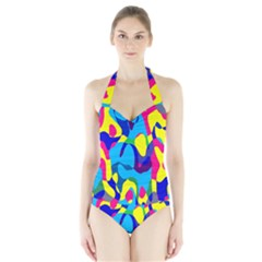 Colorful Chaos Women s Halter One Piece Swimsuit